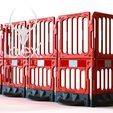 Line of connected red double toppers on red barriers on white background