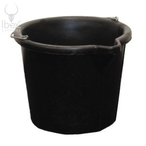 Black two gallon bucket on white background