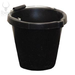 Black 3 gallon bucket on white background