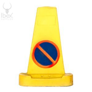 Yellow three sided no waiting cone on white background