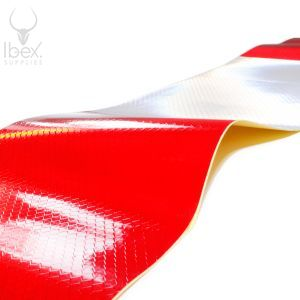 Red and white replacement chapter 8 reflective strips on white background