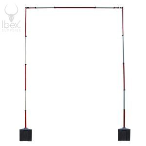 Red and white guardian goal post on white background