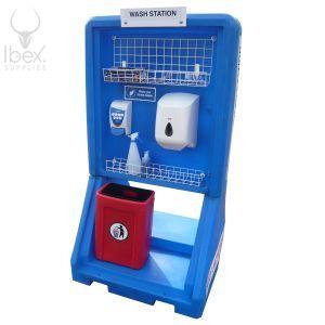 Blue portable hand washing station on white background