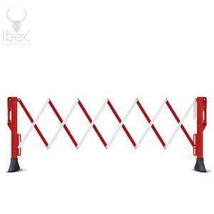Red and white Titan expanded barrier on white background