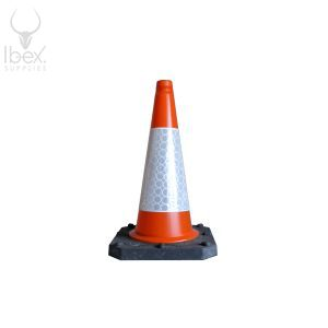 Orange and white traffic cone on white background