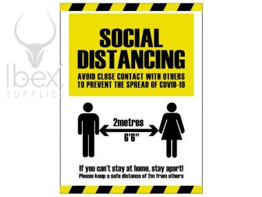 Black and yellow social distancing warning sign on white background