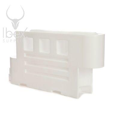 White 2000 barrier on white background