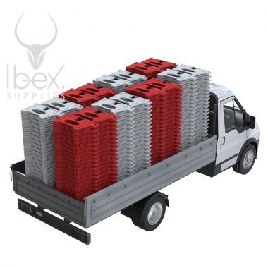 Red and white Alphabloc barriers stacked up in back of chassis van
