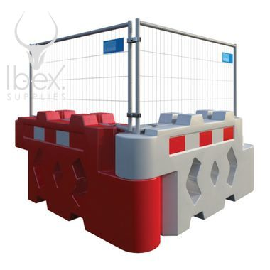 Bison mesh panel on red and white barrier on white background