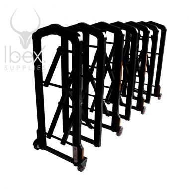 Expanded black Centipede retractable barrier on white background