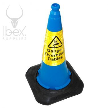 Blue cone with yellow danger sticker on white background
