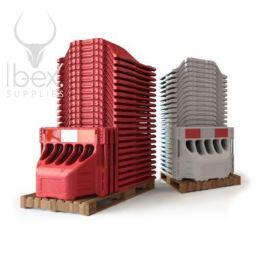 Stacks of red and white Buddha barriers