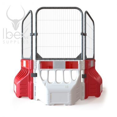Connected Buddha barriers with anti-climb fence panel attachments