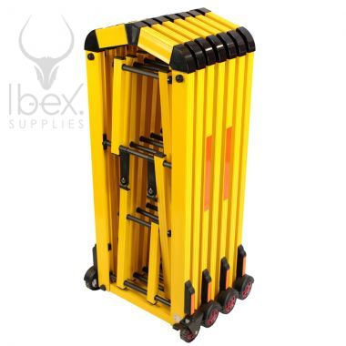 Retracted Centipede barrier in yellow