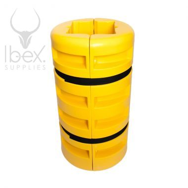 Yellow column protector on white background