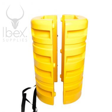 Separated yellow column protector on white background