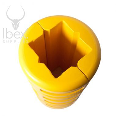 Top view of yellow column protector on white background