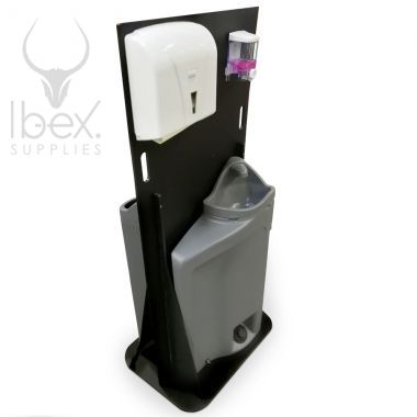 Black and grey double hand wash station on white background