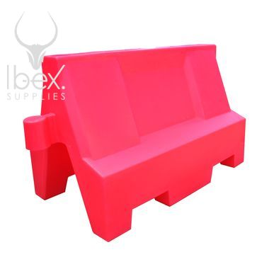Red 1 metre Euro barrier on white background