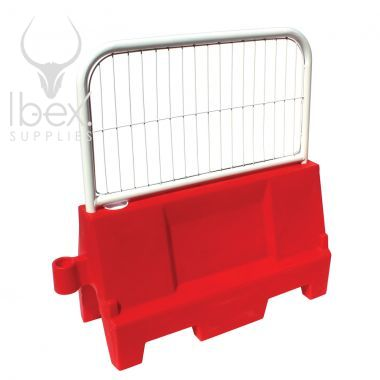 Red Evo water filled barrier with mini mesh fence panel