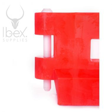 Red GB2 traffic barrier with connection pin on white background