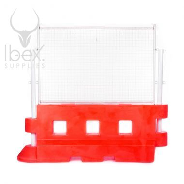 Red GB2 traffic barrier with white mesh fence on top on white background