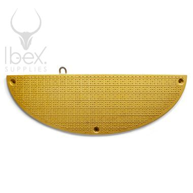 Yellow GRP road plate end section on white background