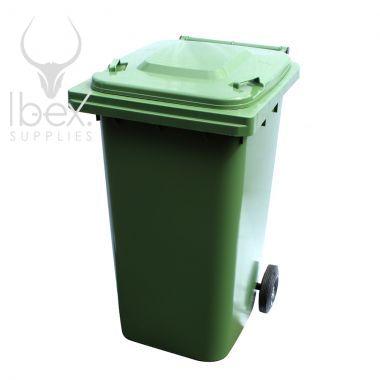Green 240 litre wheelie bin on a white background
