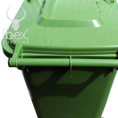Green 240 litre wheelie bin handle on a white background