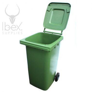 Green 240 litre wheelie bin with open lid on white background