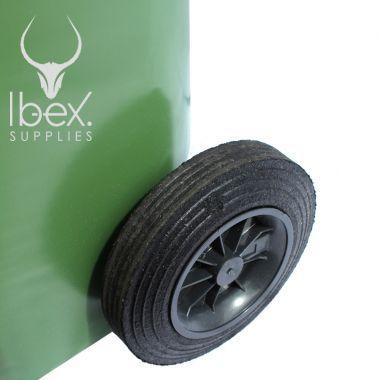 Black wheel on 240 litre green wheelie bin