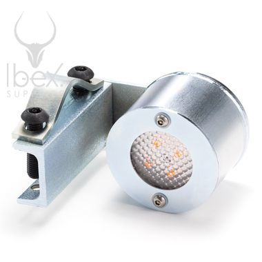 Metal LED skip light on white background