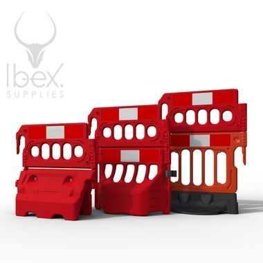 Three red mini double top barriers on different barriers on white background