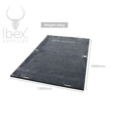 SafeMat temporary ground cover mat against a white background with product dimensions displayed