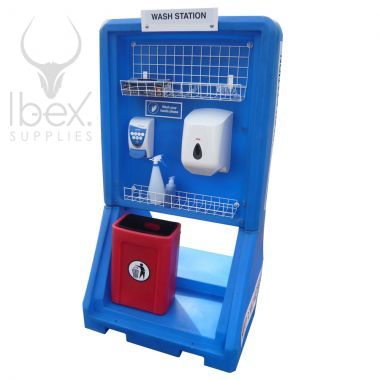 Blue portable hand washing station on white background
