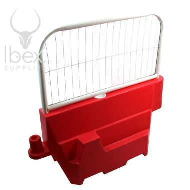 White mini mesh fence on top of red evo barrier on a white background