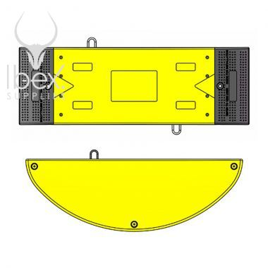 Diagram of yellow and black GRP road plate on white background