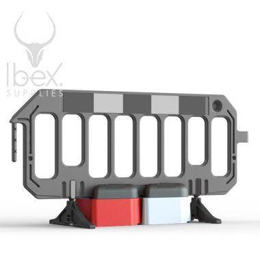Black road rock barrier with red and white blocks on white background