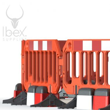 Orange road rock barriers with red and white blocks on white background