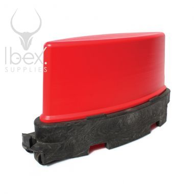 Red and black road runner barrier on white background