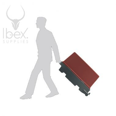 Person pulling a red and black road runner on white background