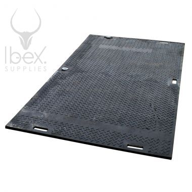 Black SafeMat ground protection on white background