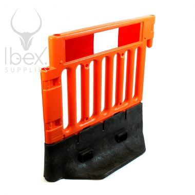 Orange and black Strongwall barrier on white background