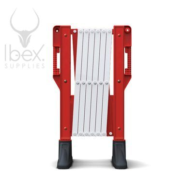Red and white Titan rectracted barrier on white background
