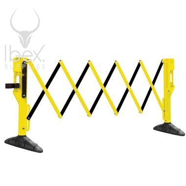 Yellow and black Titan expanded barrier on white background
