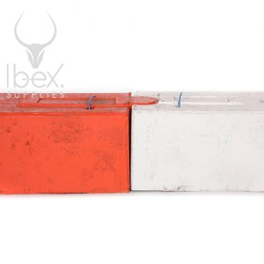 Orange and white traffic log barriers on a white background