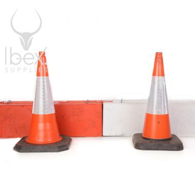 Orange and white traffic log barriers with orange and white traffic cones in front on a white background