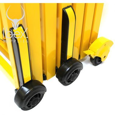 Black wheels on yellow closed Turtlegate barrier