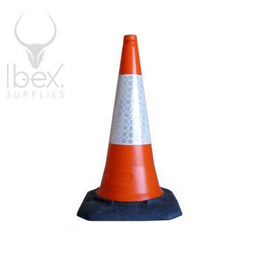 Orange and white traffic cone on white background