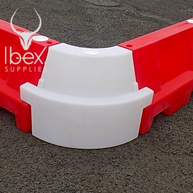 White and red evo angled corner sections connected